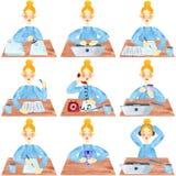 En flicka med blont hår i blått, ställde in av kontors- och universitetaktiviteter royaltyfri illustrationer