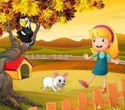 En flicka med en hund och en fågel stock illustrationer