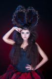 En flicka med en krona av hår Fotografering för Bildbyråer