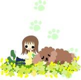 En flicka med en sova hund Royaltyfri Fotografi
