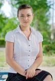 En flicka med exponeringsglas som förbättrar synförmåga Royaltyfria Foton