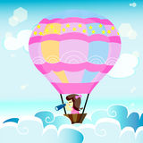 En flicka med hennes ballong Royaltyfri Fotografi