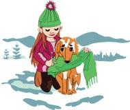 En flicka med en hund i vintern stock illustrationer