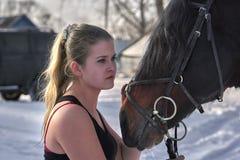 En flicka med långt blont hår meddelar med hennes favorit- häst Flickan älskar djur solig dagfjäder Närbild Arkivfoto