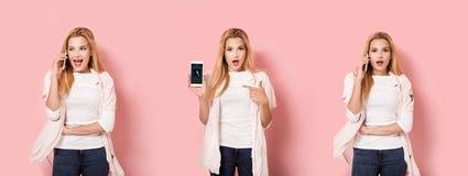En flicka med smartphonen i olika tre poserar Arkivbilder