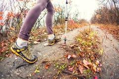 En flicka med trekking pinnar Arkivbilder