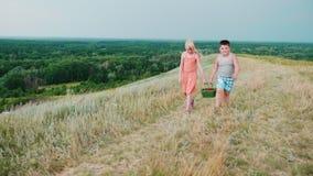 En flicka och en pojke bär korgar av bär tillsammans De promenerar den pittoreska bygden steadicamskott arkivfilmer
