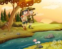 En flicka och en pojke på flodstranden vektor illustrationer