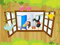 En flicka och en pojke som övar inom ett rum med fåglar på vinden stock illustrationer
