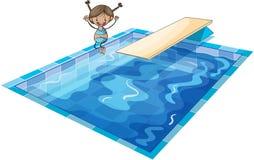En flicka och en simningbehållare Arkivfoto