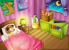 En flicka och ett sovrum royaltyfri illustrationer