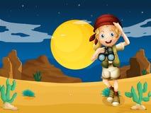 En flicka på öknen med ett teleskop stock illustrationer