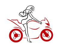 En flicka på en röd motorcykel Arkivfoto