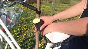 En flicka sitter på stammen av hennes cykel och äter glass Parkera p? v?ren stock video