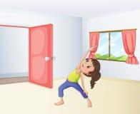 En flicka som övar i ett rum vektor illustrationer