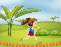 En flicka som övar i parkera royaltyfri illustrationer
