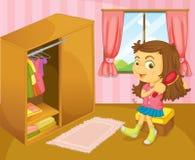 En flicka som borstar hennes hår inom hennes rum vektor illustrationer