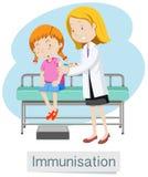 En flicka som har vaccinen med doktorn stock illustrationer