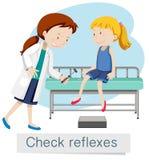 En flicka som kontrollerar reflex med doktorn vektor illustrationer
