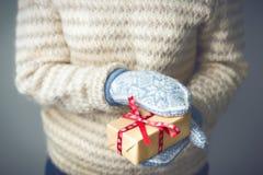 En flicka som rymmer en ask med en julklapp Fotografering för Bildbyråer