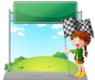 En flicka som rymmer en tävlings- flagga Arkivbilder
