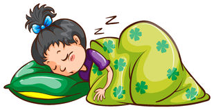 En flicka som soundly sover Arkivfoton