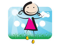 En flicka som upp till hoppar himlen vektor illustrationer