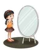En flicka som vänder mot spegeln royaltyfri illustrationer