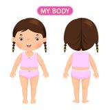 En flicka som visar delar av kroppen royaltyfri illustrationer