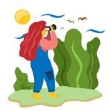 En flicka tar bilder på naturen av fåglar i himlen Illustration i plan stil arkivbilder