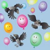 En flock av galanden och färgade ballonger Stock Illustrationer