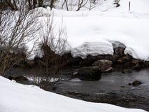 En flod i ett vitt vinterlandskap royaltyfri bild