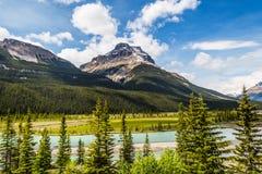 En flod och en prärie i den kanadensiska Rocky Mountain Arkivfoto