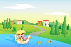 En flod och ungar stock illustrationer