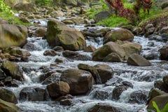 En flod som flödar snabbt över stort, vaggar Arkivbilder