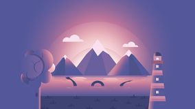 En flodstrands berättelse | Solnedgång royaltyfri illustrationer