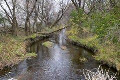 En flodvisningnedgång i Midwesten arkivfoton