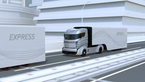 En flotta av autonoma lastbilar som kör på huvudvägen stock illustrationer