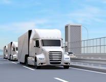 En flotta av den vita själv-körande drev amerikanen för bränslecellen åker lastbil körning på huvudvägen vektor illustrationer