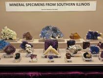 En Fluoritesamling på den Tucson ädelstenen och den mineraliska showen Royaltyfri Bild