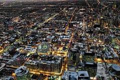 En flyg- nattsikt av Toronto Royaltyfri Bild