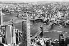 En flyg- sikt av DUMBO Brooklyn royaltyfri foto