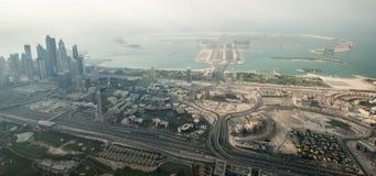 En flyg- sikt på Palm Jumeirah i Dubai Royaltyfri Fotografi