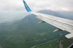 En flygplanvinge Royaltyfri Fotografi