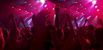 En folkmassa av åskådare på en konsert, en vaggafestival Royaltyfri Fotografi