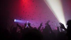 En folkmassa av folk som dansar på en musikfestival stock video