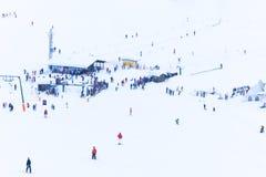 En folkmassa av skidåkare på en alpin lutning Arkivfoto
