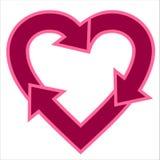 En forma de corazón recicle la insignia Imagenes de archivo