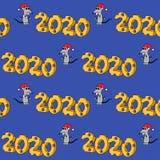 2020 en forma del queso con el car?cter hambriento A?o de la rata Modelo incons?til stock de ilustración