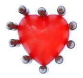 Isolerat 5,56 kulor med hjärta Arkivfoton